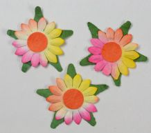PINK YELLOW SUNFLOWERS (2cm) Mulbery Paper Flowers miniature card wedding